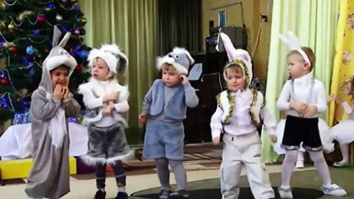 Веселый тенец мальчиков — зайчиков (Видео).